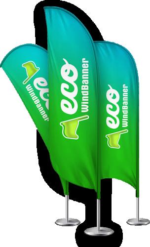 Wind Banner Fly Flag Dupla Face 220x70CM + Base de Plastico